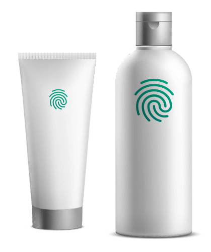 Counterfeit protected product with invisible security feature based on a unique ID created from the existing surface of the product.
