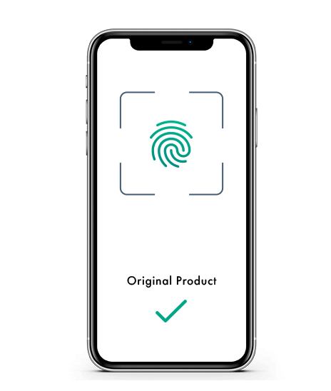 Image shows successful verification of a product on a smartphone.